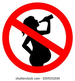 No drinking alcohol while pregnant vector sign illustration isolated on white background