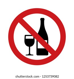No drinking alcohol or wine with red banned sign and wineglass and bottle flat vector icon