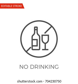 No Drinking Thin Line Vector Icon. Flat Icon Isolated on the White Background. Editable Stroke EPS file. Vector illustration.