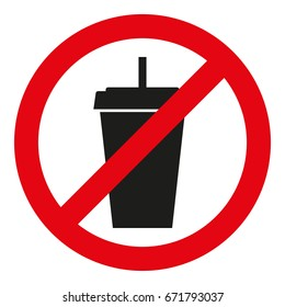 No drinks. Prohibitory icon. Flat. Vector illustration.