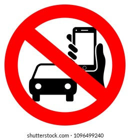 No driving and phone using vector sign isolated on white background