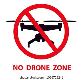 No drone zone sign. No drones icon vector. Flights with drone prohibited.