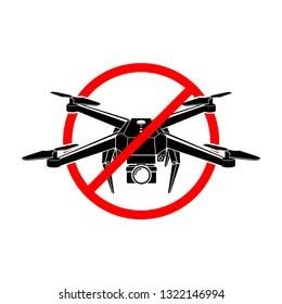 No drone zone sign. No drones icon vector. Flights with drone prohibited, vector eps 10