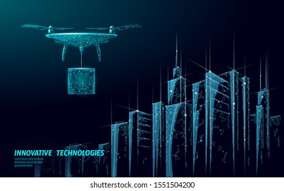 No drones city low poly banner template. Regulation of unmanned aerial vehicles sky delivery. Law ban aircraft privacy protection. Private zone information security. Polygonal vector illustration