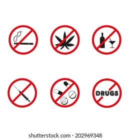 No drugs, no alcohol  prohibition signs. Vector.