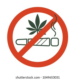 No drugs allowed. Marijuana joint, spliff, with forbidden sign - no drug. Cannabis cigarette icon in prohibition red circle. Anti drugs. Just say no. Isolated vector illustration.