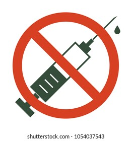 No drugs allowed. Syringe with forbidden sign. Syringe icon in prohibition red circle. Vector illustration isolated on white background.