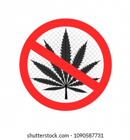 No drugs sign icon. Stop cannabis narcotic pictogram. Cannabis leaf prohibition symbol