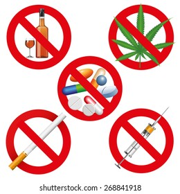 No drugs, smoking and alcohol signs. Vector illustration