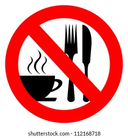 No eat and drink vector sign