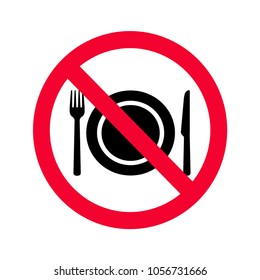 No eating allowed sign. Red prohibition no food sign. Do not eat sign.