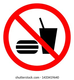 No Eating Or Drinking Symbol Sign, Vector Illustration, Isolate On White Background Label .EPS10