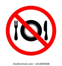 No eating sign. food prohibition symbols with fork, knife and plate vector illustration isolated on white background