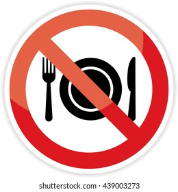 no eating sign on white background.vector illustration