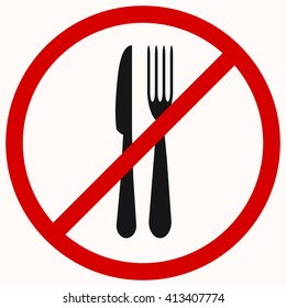 No Eating sign. Red prohibition vector symbol. You can simply change color and size