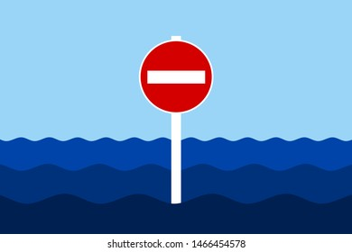 No entry and Do not enter traffic sign in ocean, sea and water. Entrance to territorial waters is forbidden