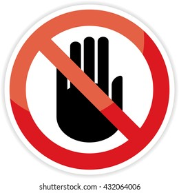 No entry hand sign on white background.vector illustration.