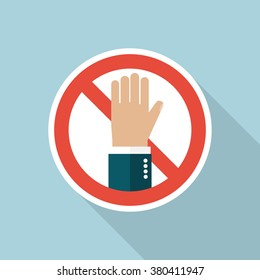 No entry hand sign. Stop vector sign. Warning, danger, forbidden. Prohibited activities. Flat icon stop long shadow.