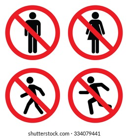 No entry sign set . No man , no women , no man walk and no run sing . Vector illustration