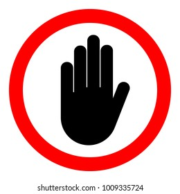 NO ENTRY sign. STOP HAND in red circle. Vector icon.