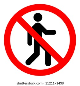 NO ENTRY sign. Strikethrough human silhouette on red circle. Vector icon.