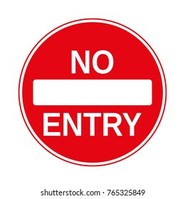 No Entry Traffic Sign, isolated on the white, vector