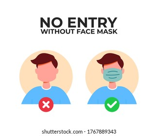 No entry without face mask sign. Vector illustration of character in medical flu mask. Advertisement for protection and prevention coronavirus. Passage only in mask, without mask entry is prohibited.