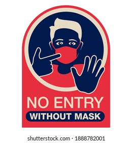 No entry without mask, red and blue sticker - person silhouette in virus protective equipment - face mask required prohibit sign