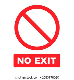 No exit sign flat vector icon isolated on a white background.
