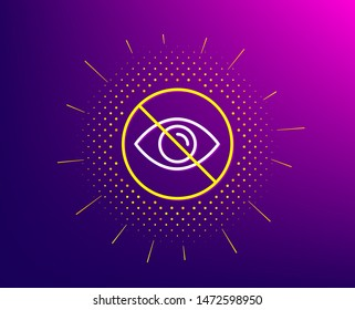 No eye line icon. Halftone pattern. Not looking sign. Optometry vision care symbol. Gradient background. Not looking line icon. Yellow halftone pattern. Vector