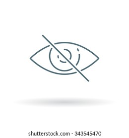 No eye sight icon. Vision impaired sign. Blindness symbol. Thin line icon on white background. Vector illustration.