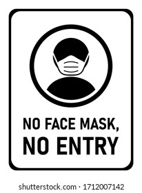 No Face Mask, No Entry Instruction Icon against the Spread of the Novel Coronavirus Covid-19. Vector Image.
