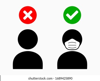 No Face Mask No Entry People with and without Face Mask Sign. Vector Image.