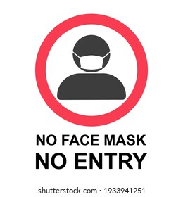No Face Mask No Entry Policy Sign. Vector Image.