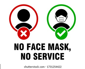 No Face Mask No Service or Face Covering Must Be Worn Sign. Vector Image.