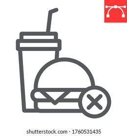 No fast food line icon, fitness and diet, no food sign vector graphics, editable stroke linear icon, eps 10