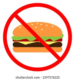 No fast food sign. The burger is crossed out in red circle. Prohibition of junk food, diet concept. Vector stock illustration.