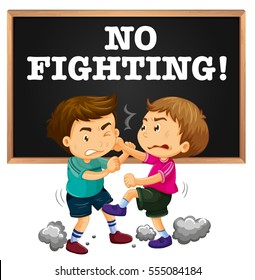 No fighting sign and boy fighting illustration