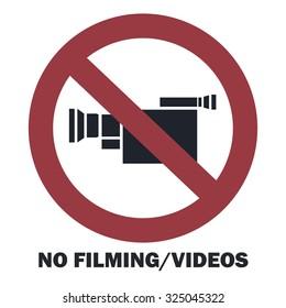 No filming/video sign. Vector illustration.