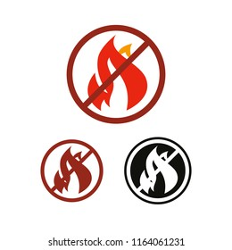 No fire and flame vector icon, prohibition and forbidden. Anti-inflammatory effect sign