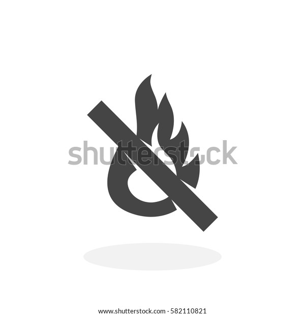 No fire icon isolated on white background. No fire vector logo. Flat design style. Modern vector pictogram for web graphics - stock vector