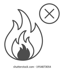 No fire thin line icon, Safety engineering concept, Prohibition open flame symbol sign on white background, Fire symbol in outline style for mobile concept and web design. Vector graphics.
