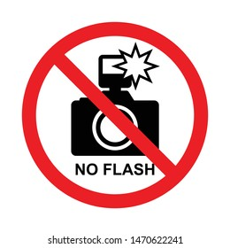 No flash photography sign, Prohibition symbol sticker for area places, Isolated on white background, Flat design vector illustration