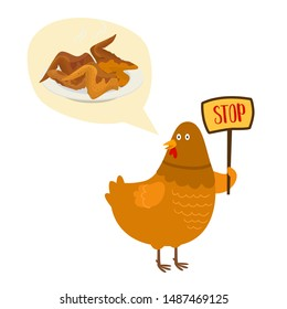 No food with chicken fries and roasted vector illustration prohibition sign. Cartoon chicken with placard saying no. Chickens strike for vegans posters illustration.