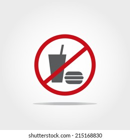 no food and drink allowed icon on white background