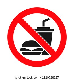 No food or drink allowed sign, eating or drinking prohibited, fast food prohibited, crossed out hamburger and soda cup, vector illustration