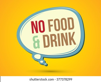 No food and drink text in balloons graphic vector.