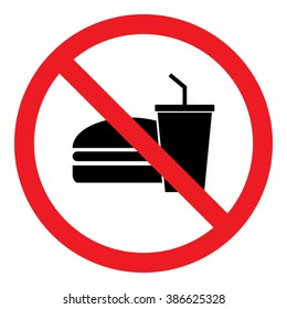 No Food Or Drinks Allowed Icon Vector Illustration