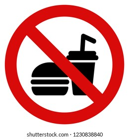 No Food And Drinks Sign Vector