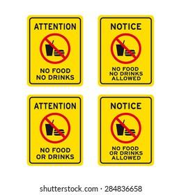 No food no drinks sign vector set